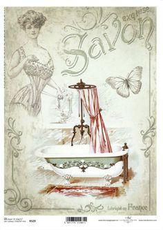 Now just in! Decoupage Rice Paper R529 vintage lady, bathhouse, antique bath tub