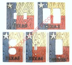 Western Rustic Switch Plate Covers Texas Flag Star Electric Outlet Cover