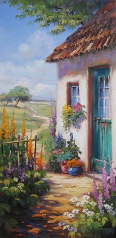 Bauerngarten vor romantischem Haus mit grüner Tür | Gemälde, Öl auf Leinwand von Ute Herrmann | www.ute-herrmann-kunstmalerin.de