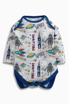 Buy Three Pack Blue Rocket Long Sleeved Bodysuit (0mths-2yrs) from the Next UK online shop