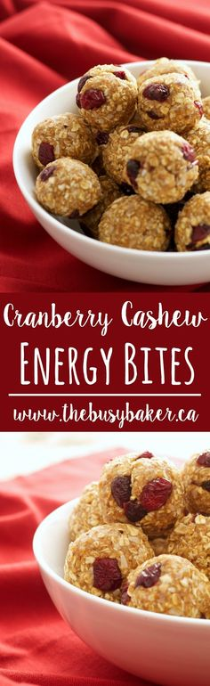 These Cranberry Cashew Energy Bites are the perfect high-protein healthy snack! Recipe from thebusybaker.ca