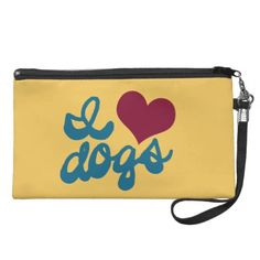 """I Love Dogs Wristlet Purse. Dog lovers proudly show their affection with this """"I Love Dogs"""" wristlet bag. Funky, imperfect, retro teal letters and a red heart create a fun, throwback design. This would make a great gift for all the dog lovers, animal lovers, and pet lovers you know. Feel free to change the background color to match your personal style."""