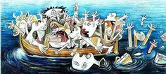 2015, un dessinateur bulgare, l'Jovcho Savov, en prenant des éléments clés de la composition de Picasso, a dénoncé à son tour l'horreur du drame des réfugiés dans la tombe d'eau de la mer Egée.