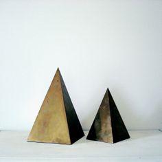 brass pyramids.