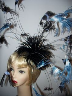 Custom Made Black White and Blue Feather Fascinator by taissalada