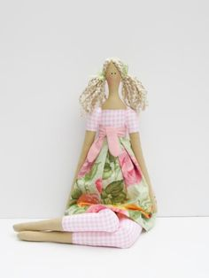 Lovely fabric doll in pink green rose dress,blonde cloth doll, art doll -cute stuffed doll, rag doll - gift for girls. $39.00, via Etsy.