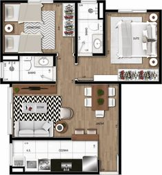 New House Plans, Modern House Plans, Small House Plans, Small Apartment Plans, Small Apartments, 1 Bedroom House, Minecraft House Designs, Floor Plan Layout, Container House Design