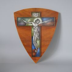 Catholic Crucifix, Catholic Art, Glass Artwork, Wall Crosses, Spiritual Gifts, Dutch Artists, Opaline, Art Deco Design, Wall Art Decor