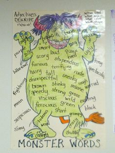 Confessions of a Teaching Junkie - Monster Adjectives