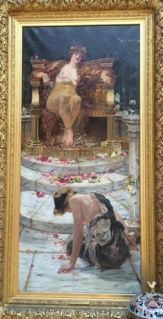 """""""Psyche at the Throne of Venus"""". 1883. Oil on canvas by Edward Hale. In this painting, Psyche is begging Venus to be reunited with Cupid."""