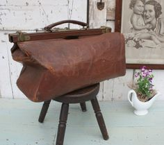French Vintage Brown Leather Doctors Bag by Restored2bloved on Etsy