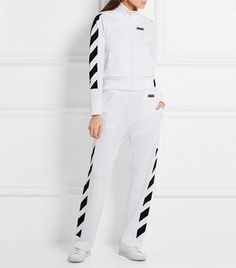 Off-White Printed Cotton-Blend Jersey Jacket and Printed Cotton-Jersey Track Pants