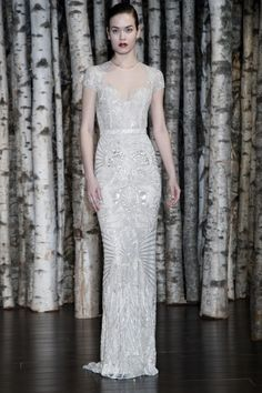naeem-khan-bridal-spring-2015...Beautiful. Love the fabric & silhouette. Imagine this in silver or taupe. Get that designer look without the designer $$$, have it custom-made. Ask your seamstress for fabric suggestions that fit your budget.