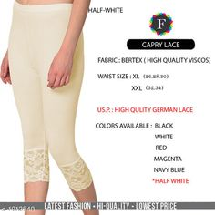Leggings & Tights  Fabulous Women's Legging Fabric: Vertex Waist Size: XL- 26 in To 30 in  XXL - 32 in To 34 in Length: Up To 34 in Type: Stitched Description: It Has 1 Piece Of Women's Trouser  Work:  Capri Lace Work Country of Origin: India Sizes Available: XL, XXL *Proof of Safe Delivery! Click to know on Safety Standards of Delivery Partners- https://ltl.sh/y_nZrAV3  Catalog Rating: ★4.2 (4835)  Catalog Name: Alexandra Fabulous Vertex Womens Leggings Vol 1 CatalogID_121886 C79-SC1035 Code: 012-1012540-