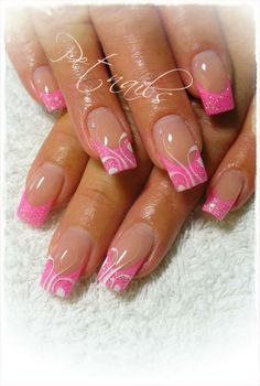 Pink french nails with designs - Nail Art Designs French Nail Designs, Colorful Nail Designs, Beautiful Nail Designs, Beautiful Nail Art, Great Nails, Fabulous Nails, Gorgeous Nails, Fingernail Designs, Gel Nail Designs