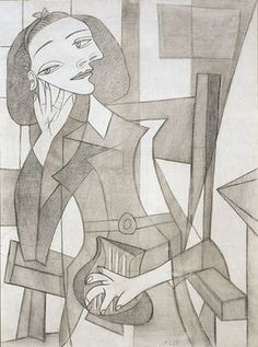 Pablo Picasso - Portrait of Nusch Eluard, Pen and charcoal on canvas Kunst Picasso, Pablo Picasso Drawings, Art Picasso, Picasso Paintings, Picasso Images, Picasso Sketches, Pablo Picasso Zeichnungen, Philippe Parreno, Cubist Movement