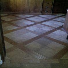 wood and tile floor Tile Installation, Carpet Tiles, Townhouse, Tile Floor, Hardwood, House Ideas, Yard, Flooring, Kitchen