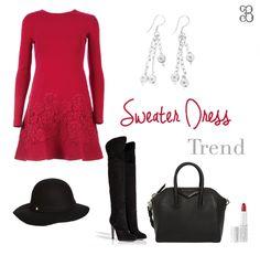 Sweater Dress Trend! Complementa con estos aretes de plata y lucirás preciosa. #aretes #jewerly #plata #silver #sweater #dress #vestido