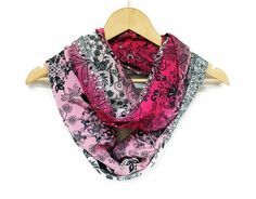 Pink Fuchia infinity scarf with Flower Prints Circle by HeraScarf, $21.90