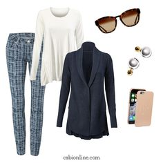#cabi - The soft blue pattern of the Grid Skinny Jean pairs perfectly with a white tee and navy sweater.