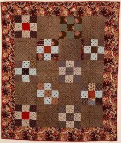 Nine Patch Crib Quilt: Circa 1880: Pa.