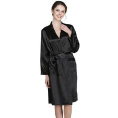 2d8bf64de2d 22 Momme Mid Length V Neck Silk Robe