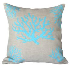 Natural & Teal Coral Cushion - K Trade - on Temple & Webster today.