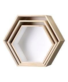 Paulownia Wood Hexagonal Display Box - Set of Three by Bloomingville #zulily #zulilyfinds