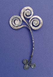 Alexander Calder (1898-1976)   Untitled (Brooch)   hammered silver   6 x 3.1/8 in. (15.3 x 8 cm.)   Executed circa 1945