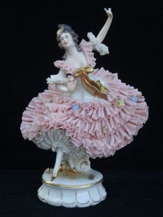 "Antique Ackermann Fritze Dresden ""Dancing Ballerina"" Porcelain Lace Figurine   eBay"
