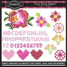 Cross Stitch sampler digital art DreAmLoft studios