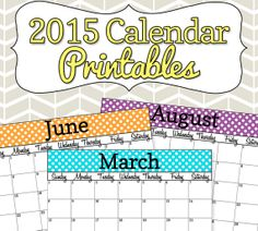 2015 Colorful Polka Dot Calendar Printable - with editable date boxes from Simply Brenna