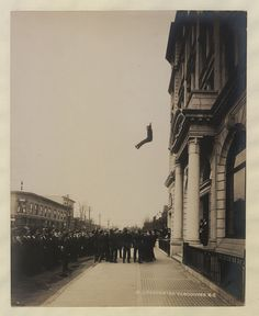 Vancouver fireman jumping into life net 1910 Im Falling, Canadian History, British Library, Press Photo, Vintage Pictures, Stunts, British Columbia, Vancouver, The Past