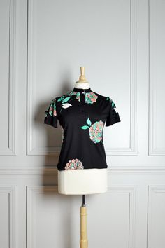 Top Blouse Black / Floral Mint Green Coral / Short by thriftage, $26.00
