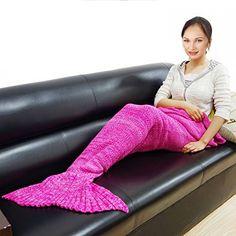 Mermaid Tail Blanket Crochet Mermaid Blanket for Adult, Pretty Handy All Seasons Sleeping Blankets Knitted Sofa Air Conditioning Blanket Sleeping Bags (Rose)