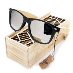BOBO BIRD Mens Summer Style Vintage Black Square Sunglasses With Bamboo Mirrored Polarized Travel Eyewear in Wood Box