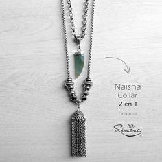 Collar Naisha (2 en 1) - Onix Azul - Ríe Simona