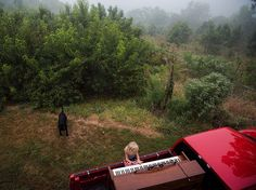 Picture of young girl playing a piano in a truck in a backyard