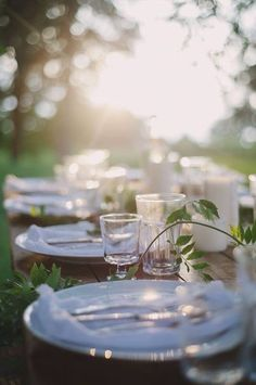 white table setting, outdoors