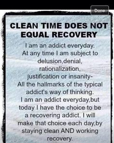 Clean time does not equal recovery.