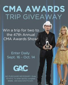 Enter GAC's CMA Awards Trip Giveaway for a chance to see the show LIVE in Nashville!