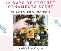 Crochet a mini sweater ornament with this free pattern for your tree this holiday! Personalize it with the initials of family members to make it special! Paper Christmas Decorations, Crochet Christmas Ornaments, Christmas Crochet Patterns, Holiday Crochet, Mini Christmas Tree, Christmas Items, Christmas Projects, Holiday Crafts, Xmas Tree