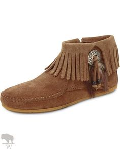 Women's Feather & Concho Fringe Bootie Moccasins by Minnetonka