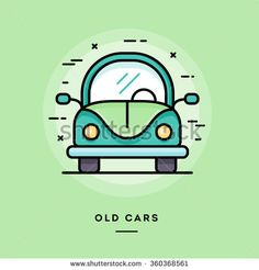 Old cars, flat design thin line banner, usage for e-mail newsletters, web banners, headers, blog posts, print and more - stock vector