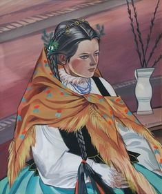 "Zofia Stryjeńska (Polish, ""Góralka"" (""Goral (Mountain) Girl""), after Historical Images, Classical Music, Art And Architecture, Folklore, Costume Design, Art Decor, Royalty, Tumblr, Artwork"
