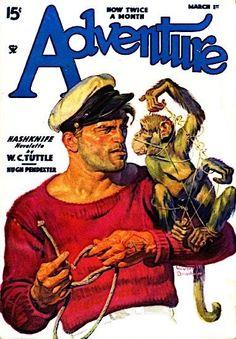 Adventure 03/01/35 - Sailor with Monkey - Walter Baumhofer Pulp Art    eBay