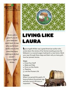 Living Like Laura (Ingalls Wilder) Council's Own Girl Scouts of Eastern Iowa and Western Illinois