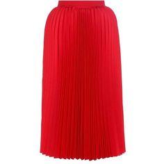 Balenciaga Pleated Twill Midi Skirt (18.244.220 IDR) ❤ liked on Polyvore featuring skirts, balenciaga, knee-length, red, pleated midi skirt, mid calf skirts, red pleated skirt, red knee length skirt and twill skirt