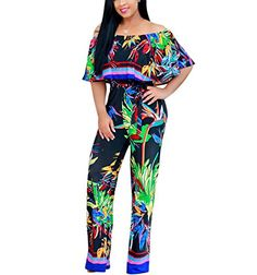 26f94385b3856d 2017 New Off Shoulder Ruffle Floral Print Jumpsuit Women Rompers Summer  Backless Sexy Wide Leg Elegant Jumpsuit Vintage Overalls