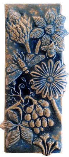 Botanical and Bugs Ceramic Tile in Night Sky Glaze:  by Beth Sherman: Ceramic Wall Art | Artful Home